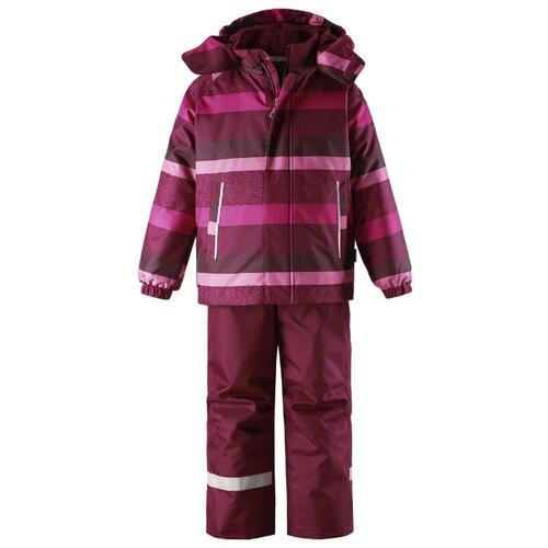 Комплект с брюками Lassie 723732-3991 размер 104, бордовый/розовый в полоску