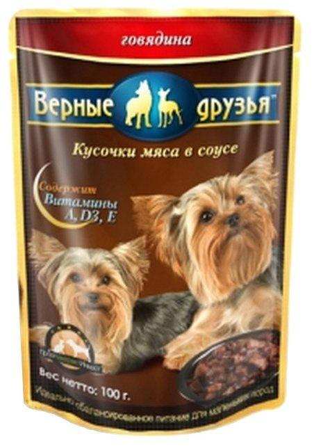 Корм для собак Верные друзья Кусочки в соусе для собак малых пород - Говядина (0.1 кг) 21 шт.