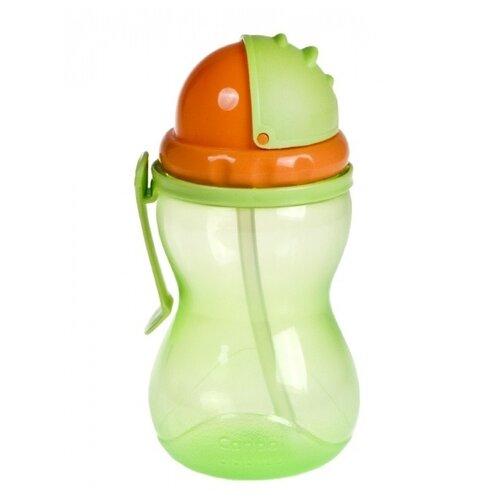 Поильник с трубочкой Canpol Babies 56/113, 370 мл зеленый/оранжевый