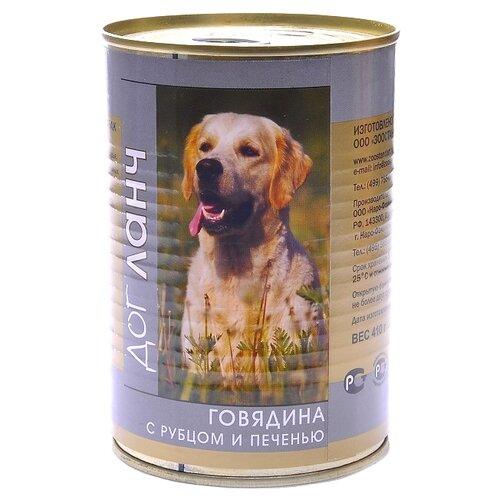 Корм для собак Dog Lunch (0.41 кг) 1 шт. Говядина с рубцом и печенью в желе для собак корм смайли говядина в желе 750g для собак 81069