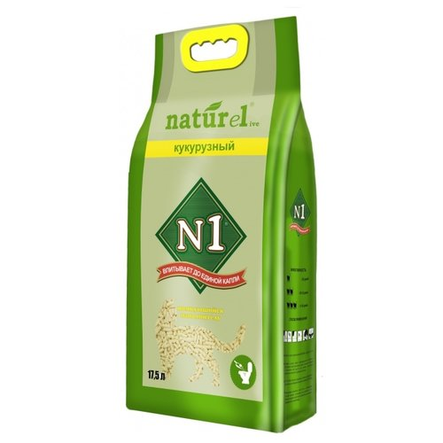 tea1733p n1 Комкующийся наполнитель N1 Naturel кукурузный, 17.5 л