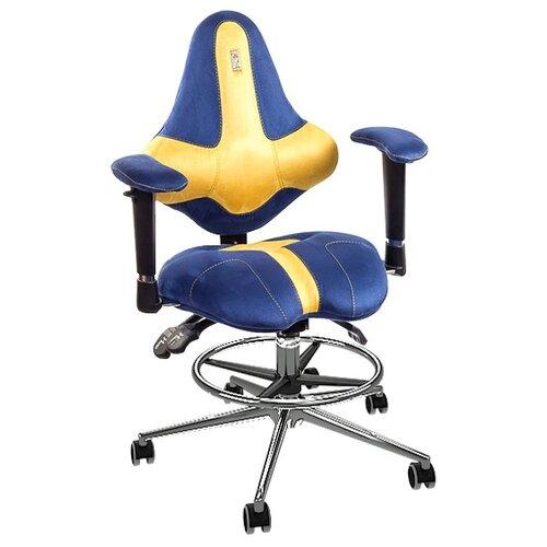 Компьютерное кресло Kulik System Kids (с подставкой для ног) детское, обивка: текстиль, цвет: медовый/кобальт эргономичное кресло kulik system galaxy 1104
