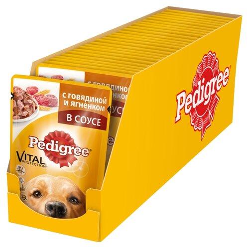 Корм для собак Pedigree Для взрослых собак всех пород с говядиной и ягненком в соусе (0.1 кг) 24 шт.Корма для собак<br>