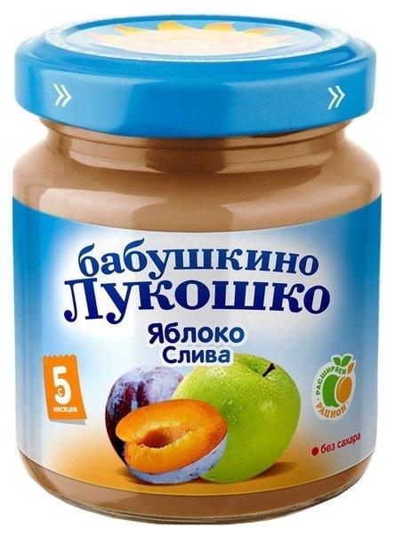 Пюре Бабушкино Лукошко яблоко-слива (с 5 месяцев) 100 г, 6 шт.
