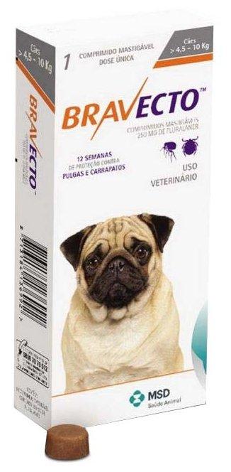 Жевательная таблетка Intervet MSD Intervet Бравекто жевательная таблетка для щенков и взрослых собак малых пород (массой 4,5-10 кг) (1.)