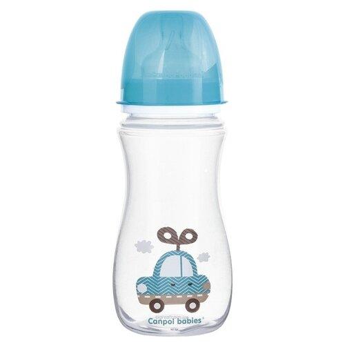 Купить Canpol Babies Бутылочка антиколиковая с широким горлом 300 мл Игрушки с 12 мес., голубой, Бутылочки и ниблеры