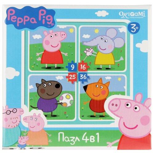 Купить Набор пазлов Origami Peppa Pig На прогулке 4 в 1 (01598), Пазлы