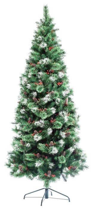Царь елка, EverChristmas, Ель искусственная фьюжн заснеженная с шишками и ягодами, (хвоя леска+PVC), 1,80 м ФЗЕ-180