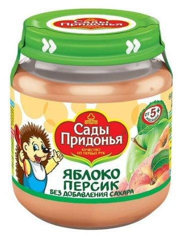 Пюре Сады Придонья яблоко-персик (c 5 месяцев) стеклянная банка 120 г