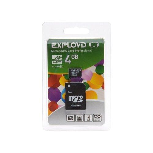 Карта памяти EXPLOYD microSDHC Class 4 + SD adapter 4 GB, адаптер на SD