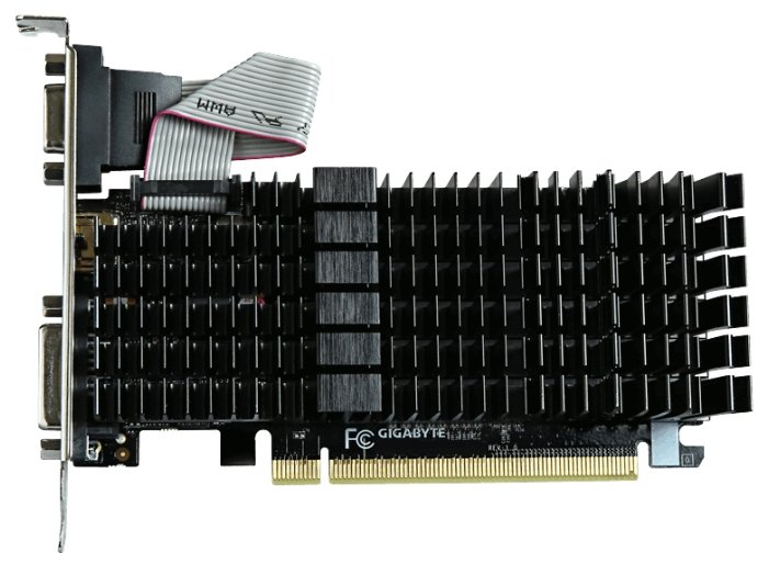 GIGABYTE GeForce GT 710 954Mhz PCI-E 2.0 1024Mb 1800Mhz 64 bit DVI HDMI HDCP Silent