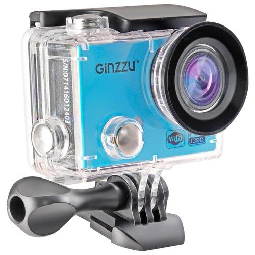 Экшн-камера Ginzzu FX-120GL черный/голубой