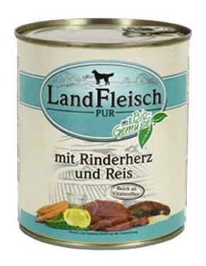 Корм для собак Dr. Alder`s ЛАНДФЛЯЙШ Деревенское мясо сердце + рис + овощи рубленое мясо Для взрослых собак (0.8 кг) 1 шт.