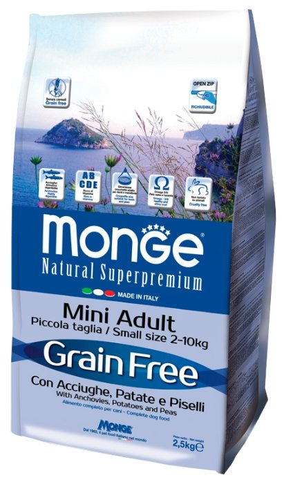 Корм для собак Monge BWILD Feed the Instinct для здоровья кожи и шерсти, для здоровья костей и суставов, анчоус с картофелем, с горошком 2.5 кг