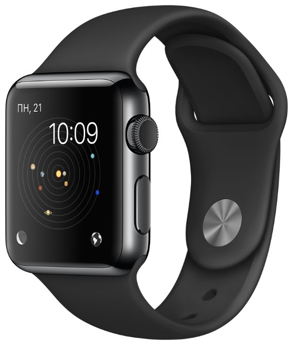 Умные часы APPLE Watch 38mm with Black Sport Band MLCK2RU/A