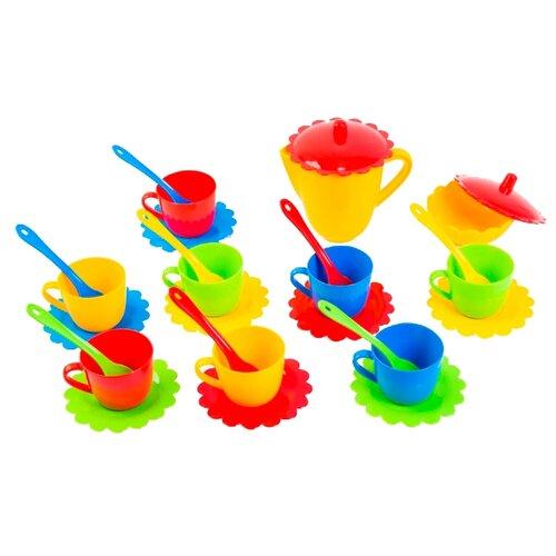 Набор посуды Тигрес Ромашка 39129 красный/желтый/голубой/зеленый набор посуды тигрес ромашка на 4 персоны большой 39091