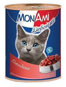 MonAmi Delicious консервы для кошек Говядина (0.35 кг) 1 шт.