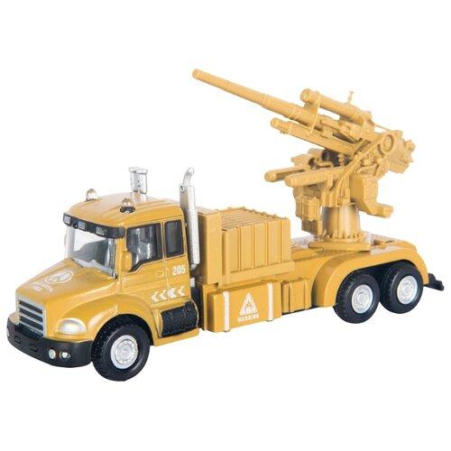 Купить Система залпового огня Autogrand Military Gun Truck с орудием (34128) 1:48 бежевый, Машинки и техника