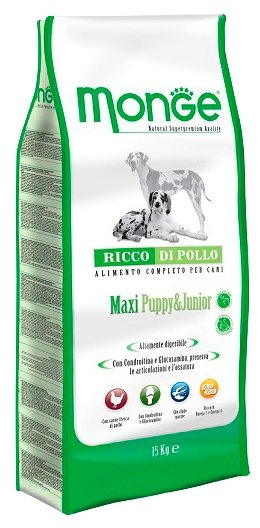 Monge (12 кг) Dog Maxi Puppy&Junior – Курица с рисом. Для щенков и юниоров крупных пород
