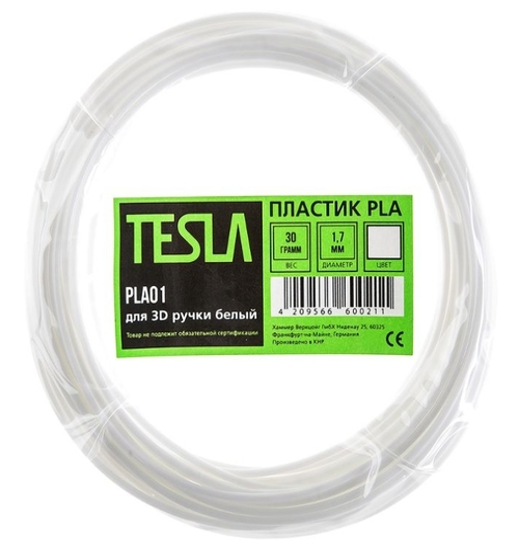 PLA пруток TESLA 1 70 мм белый