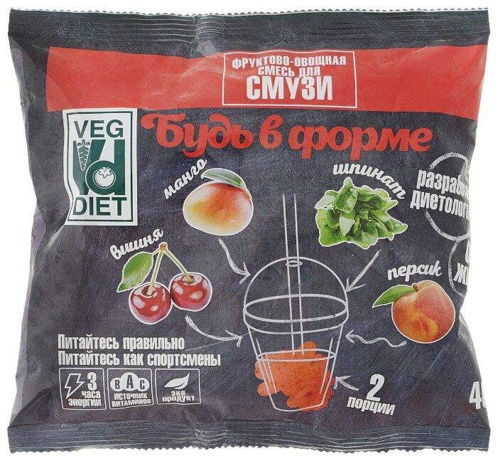 VegDiet Смесь для смузи Будь в форме фруктово-овощная (персик, вишня, манго, шпинат) замороженная 400 г