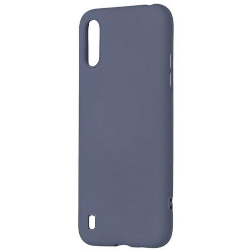 Матовый силиконовый чехол-накладка с бархатной подкладкой из микрофибры PERO для Samsung A01 / Silicone Case на Самсунг Галакси А01  серый