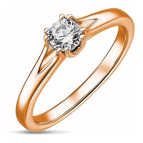 ЛУКАС Кольцо с 1 бриллиантом из красного золота R01-D-SOL51-025-G2, размер 17 кольцо из золота r01 d r306443sap