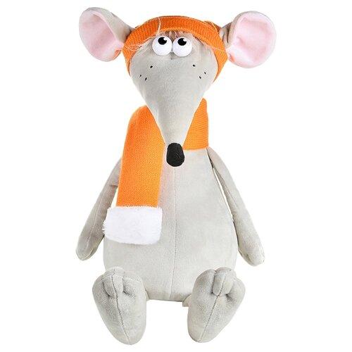 Купить Мягкая игрушка Maxitoys Крыс Денис в оранжевой шапке и шарфе 34 см, Мягкие игрушки
