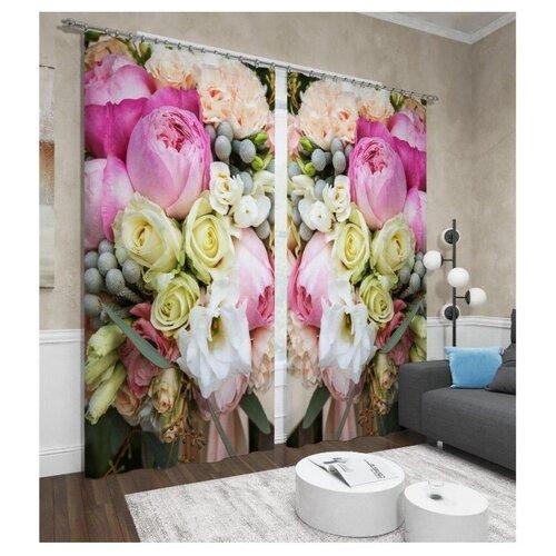 Фото - Фотошторы Сирень Пионы и розы (ФШБЛ001-13592) на ленте 260 см розовый розы и пионы