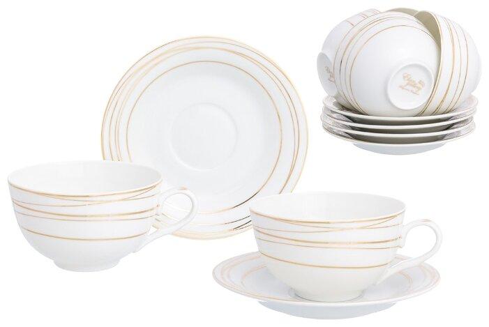 Чайный сервиз Elan gallery Золотые полоски 12 предметов 300 мл