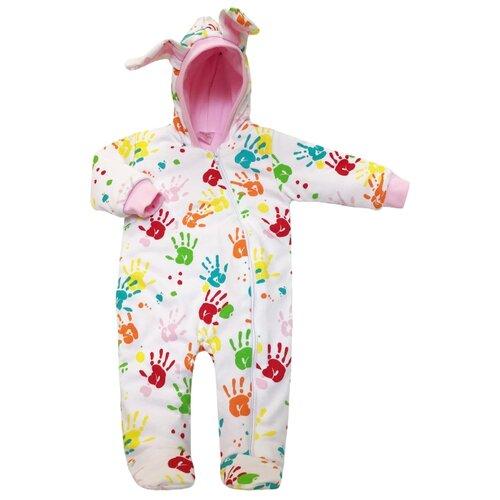 Купить Комбинезон KotMarKot Ладошки (6995) размер 56, белый / розовый, Комбинезоны