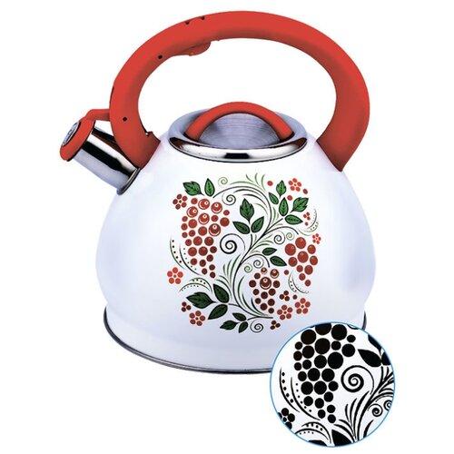 Забава Чайник со свистком Рябина 3 л белый/красный чайник agness горошек со свистком 937 801 белый 3 л