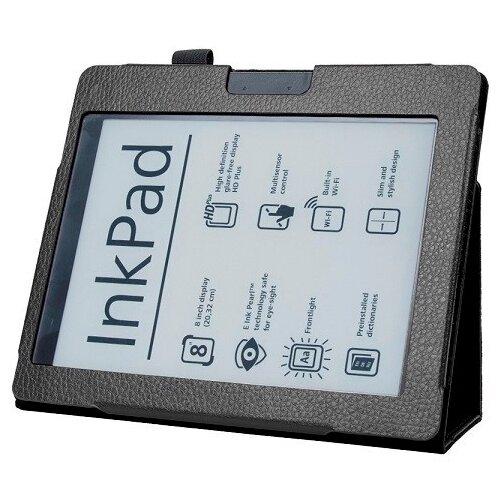 Чехол-обложка MyPads для PocketBook 840-2 InkPad 2 из качественной эко-кожи закрытого типа с магнитной крышкой черный кожаный