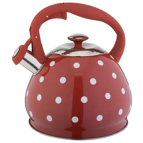 Alpenkok Чайник со свистком AK-513 3 л, красный горох
