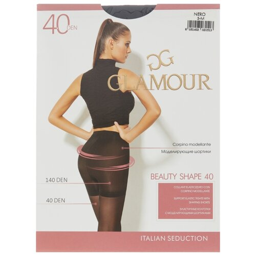 Колготки Glamour Beauty Shape 40 den, размер 3-M, nero (черный) колготки glamour velour 3 70 den черный