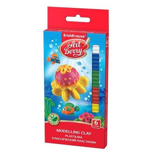 Пластилин ErichKrause ArtBerry с алоэ Вера 6 цветов, 108 г (46158) пластилин artberry пластилин классический с алоэ вера 12 цветов 216 г в пластиковом боксе