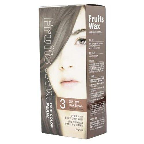 Купить Welcos стойкая крем-краска для волос Fruits Wax Pearl Hair Color, 3 dark brown