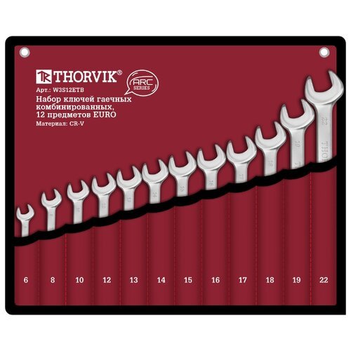 Фото - Набор гаечных ключей Thorvik W3S12ETB, 12 предм. набор гаечных ключей thorvik 6 предм orws006