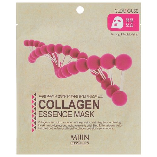 MIJIN Cosmetics тканевая маска Collagen Essence Mask firming and moisturizing с коллагеном, 25 г маска тканевая для лица mijin cosmetics platinum essence mask 23 г