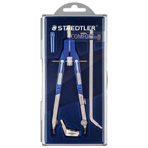 Купить Staedtler Готовальня Mars Comfort 552 4 предмета (552 02) синий/серебристый, Чертежные инструменты