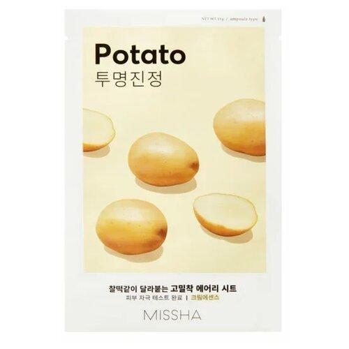 Missha Airy Fit Sheet Mask Potato осветляющая тканевая маска для тусклой кожи с экстрактом картофеля, 19 гМаски<br>