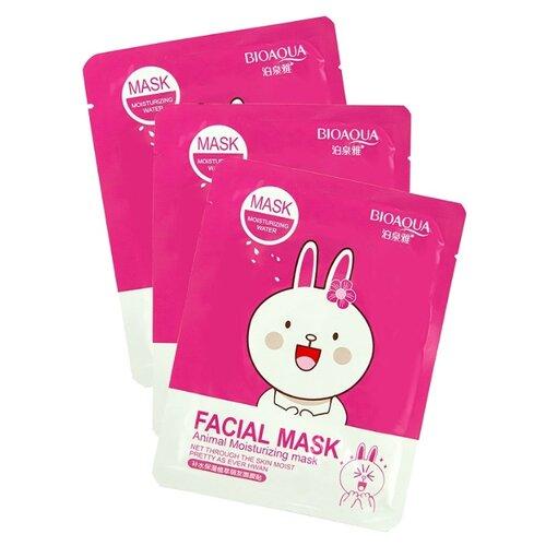 BioAqua Animal Face Hare Увлажняющая маска с экстрактом сакуры и алоэ вера, 30 г, 3 шт. laloli тканевая маска увлажняющая с экстрактом морских водорослей и алоэ вера 30 г