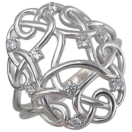 Эстет Кольцо с 9 фианитами из серебра 01К1510398, размер 18 ЭСТЕТ