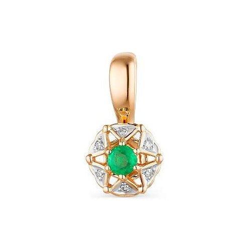 АЛЬКОР Подвеска с изумрудом и бриллиантами из красного золота 33538-101