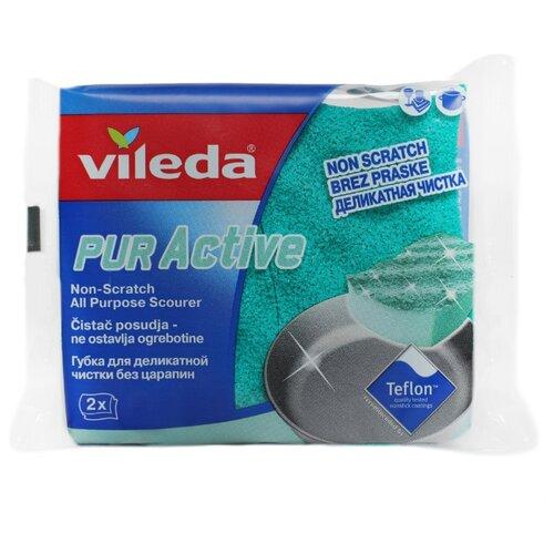 губка для мытья посуды vileda inox металлическая 2 шт Губка для посуды Vileda Пур Актив 2 шт