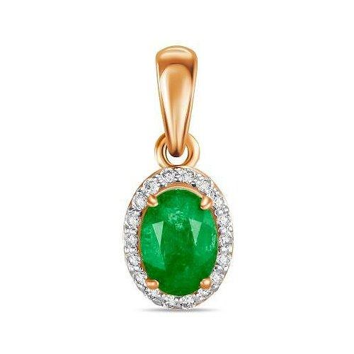ЛУКАС Подвеска с изумрудом и бриллиантами из красного золота P01-D-34433-EM