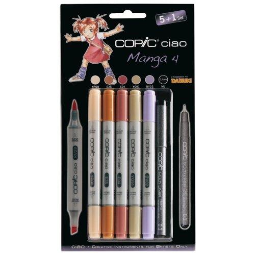 Купить COPIC набор маркеров Ciao Manga 4 (H22075561), 5 шт. + мультилайнер, Фломастеры