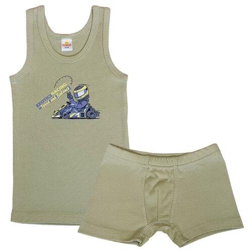 Купить Комплект нижнего белья Папитто размер 104-110, оливковый, Белье и пляжная мода