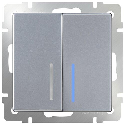 Выключатель 2х1-полюсный Werkel WL06-SW-2G-LED,10А, серебристый выключатель 1 полюсный werkel wl06 sw 1g 2w led 10а серебристый