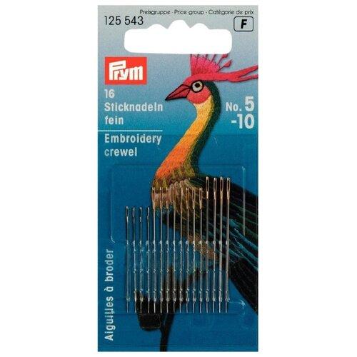 Набор игл ручных Prym 125543 тонкие для вышивки, серебристый, 16 шт. игла prym 125543 иглы вышивальные тонкие 5 10 prym